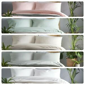 Appletree CASSIA Duvet Cover Bedding Set 100% Cotton Plain White Pink Grey Quilt
