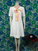 V48 Ladies Vintage 1970's Skater Lemon Dress With Floral Neck Tie Size 10-12