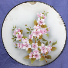 Antique hand made floral porcelain platter tray with metal facing