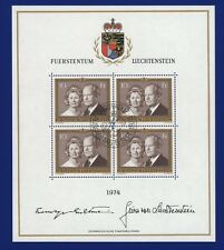 Liechtenstein 1974 - Fürstenpaar - Nr. 614 ⨀ - Kleinbogen mit ESST - Mi. 45,00