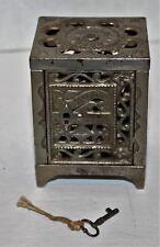 antique J & E STEVENS Cast Iron SAFE still bank original KEY dated June 2,1896