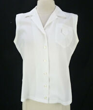 Vintage Rockabilly White Blouse (M) Sleeveless Darted Bust Chest Pocket Pinup