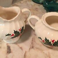 Vintage Christmas Scio Holly Swirl Creamer And Sugar Bowl No Lid