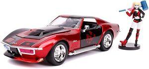 1/24 Jada Chevy Corvette Stingray 1969 + Figurine Harley Quinn Livraison Domicil