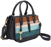 NWT Fossil Ryder Mini Leather Satchel Navy / Colorful Stripes ZB7755875 $208