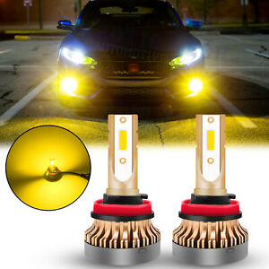 LED H11 H16 H8 Fog Light Bulbs for Honda Acura Toyota Bright 3000K Golden Yellow