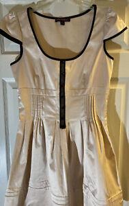 Betsey Johnson Pale Pink Mini Dress Black Trim Size 10 Vintage Style