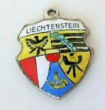 Travel Shield Charm Liechtenstein Vintage Silver Enamel