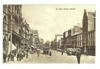 Postcard St Mary Street Cardiff Tram Western Mail Office Policeman Buses