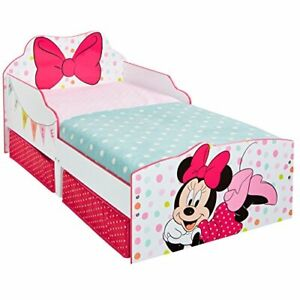 Minnie Mouse Toddler Bed with Underbed Storage, Wood, White, 143 x 77