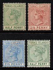 Turks Islands 1882-95 Queen Victoria, MH (SG#53a-56-65-70)