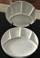 Vintage USA Pottery White Divided Plates 9-1/8 X 8, Lot of 4