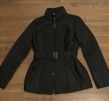 497c4d12234fb LAUNDRY By SHELLI SEGAL Black Quilted Coat Jacket Size Medium M Removable  Belt
