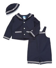NWT Baby Boy 12 Months New GOOD LAD Navy 3 Piece SAILOR Suit Overall OUTFIT 12M
