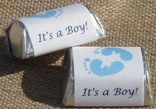 30 ITS A BOY FOOTPRINTS BABY SHOWER PARTY HERSHEY NUGGETS LABELS WRAPPERS FAVORS