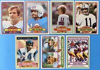 (7) 1980 Topps Football Card Lot Phil Simms Ken Stabler Dan Fouts Bob Griese