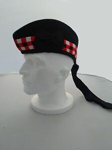 Scottish Glengarry Bonnet Wool Cap Piper Hat Plain Black or Diced Sizes 54 - 64