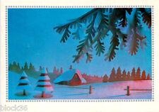 1972 Russian NEW YEAR postcard Beautiful winter scene greetings Russian/English