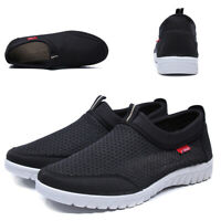 Mens Breathable Sports Mesh Slip On Flats Athletic Sneakers Casual Walking Shoes