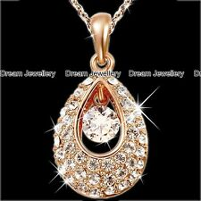 Gold Tear Drop Crystal Diamond Necklace Christmas Gift for Mum Daughter Wife Sis