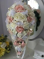 Vintage Peach & ivory shower Style Brides Bouquet Pearls,reduced this week £50