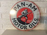 Antiqued Pan Am Motor Oils Doughboy Stand Up under Fire Heavy steel Sign New
