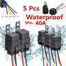 5pcs Car 12V 30/40A SPDT Relay Socket Plug 5Pin 5 Wire Waterproof Seal Iron Kit