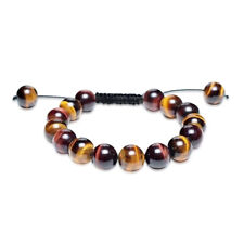 Brown Tiger Eye Round Beads Shamballa Inspired Bracelet Black Cord String