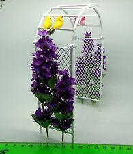 Purple Flowers On Metal Arbour + 4 Birds Dolls House Miniature Garden Accessory