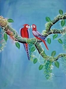"ORIGINAL HAITIAN FOLK ART PAINTING BY ALAND ESTIME ""PARROTS, BIRDS"" HAITI 4030"