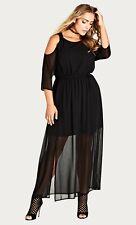 CITY CHIC S 16 NWT RRP $99US MAXI COLD SHOULDER DRESS BLACK