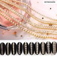 3D Gold Metallkette Nail Art Decora Metallkette Nagel Zubehör DIY Strasssteine