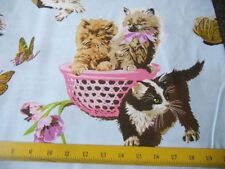 SALE  A Henry Fabrics What's New Pussy Cats Playing on Blue 4 Quilts Pillows