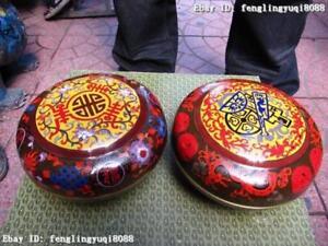 China Royal Palace Bronze Copper cloisonne Enamel plate jar Pot crock Bowl Pair