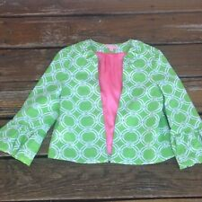 Lilly Pulitzer Green White Cropped Cotton Swing Jacket 0 3/4 Sleeve Ruffle Cuff