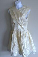 Behnaz Sarafpour (Sz 8) Eye of the needle Dress silk cream golden silver $1425
