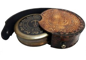 W.OTTWAY NAUTICAL VINTAGE ANTIQUE STYLE BRASS POEM COMPASS WITH LEATHER CASE