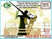 """UMT 651-002 - 1/72 – Oerlikon 20mm/70 (0,79"""") AA gun mark IIIA (Britain) WWII"""