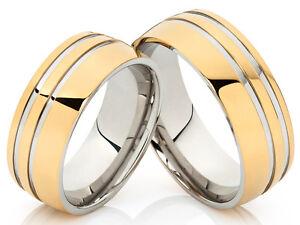 2 Trauringe Eheringe Hochzeit Verlobung Ring Edelstahl mit gratis Gravur