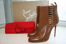 Christian Louboutin Camisole Tan Leather Boots Booties Side Zip Size 40 NW Box