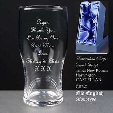 Personalised T Pint Glass,Wedding Favour,Thank You For Being Our Best man