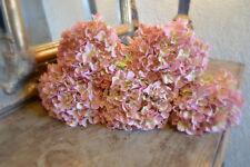 Bunch of 5 Antique Vintage Pink Hydrangeas, Artificial Luxury Faux Silk Flowers