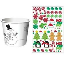 Christmas Kid's Activity Treat Cups w/Stickers 6 Pack Snowman Christmas Winter