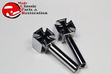 Chrome Maltese Iron Cross Door Lock Latch Knobs Custom Truck Hot Rat Street Rod