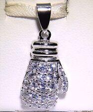 925 STERLING SILVER BOXING GLOVE  SIMULATED DIAMOND STONE SET  PENDANT CHARM