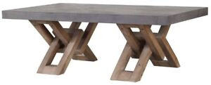 """52"""" Long Isaia Coffee Table Hard Wood Two Tone Intricate Base Contemporary"""