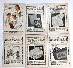Vintage 1940s WORKBASKET Art Needlework Knitting Crochet Patterns LOT of 6
