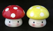Smiling Mushroom Salt & Pepper Shakers Set red yellow cute fun