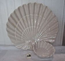 VINTAGE MAURICE OF CALIF USA CERAMIC LUSTER LARGE AND SMALL SEASHELL DISHES
