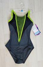 AQUA SPHERE size 4 black GREY SWIMSUIT lime green CARA swimming costume GB 30